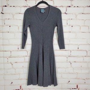 Gabby Skye Charcoal 3/4 sleeve Sweater Knit Dress